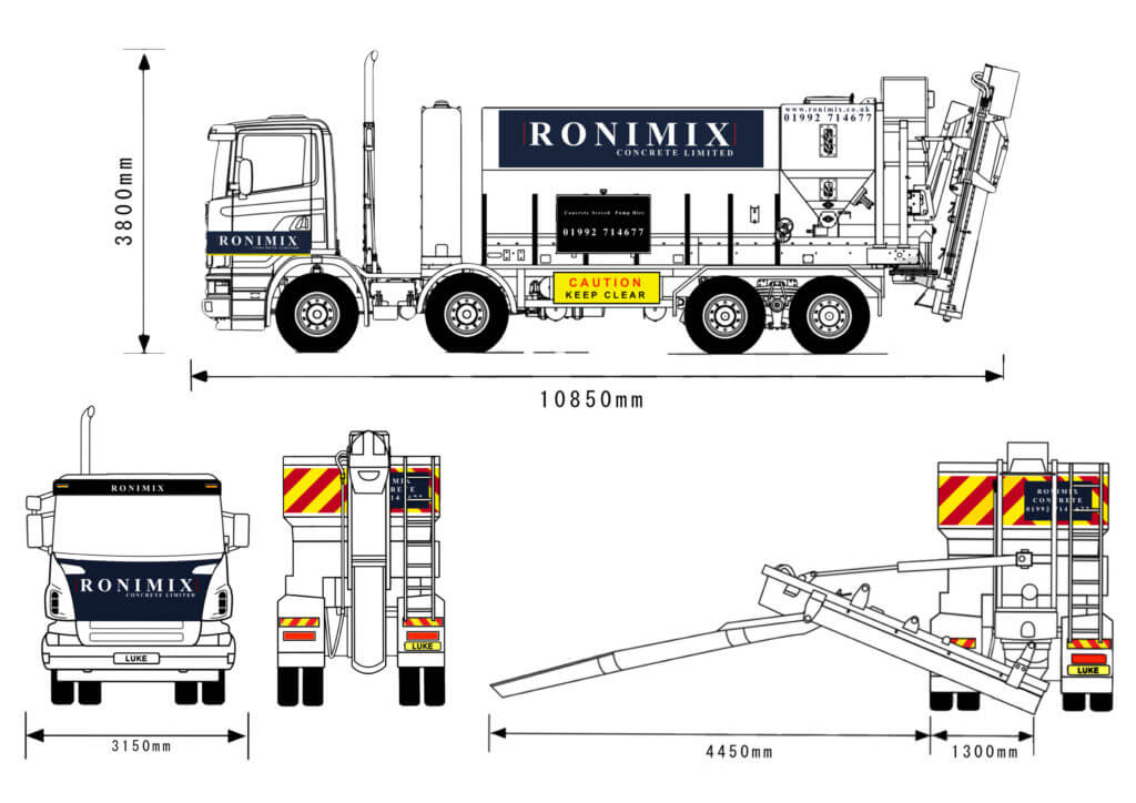 Volumetric Lorry side view showing dimensions of lorry
